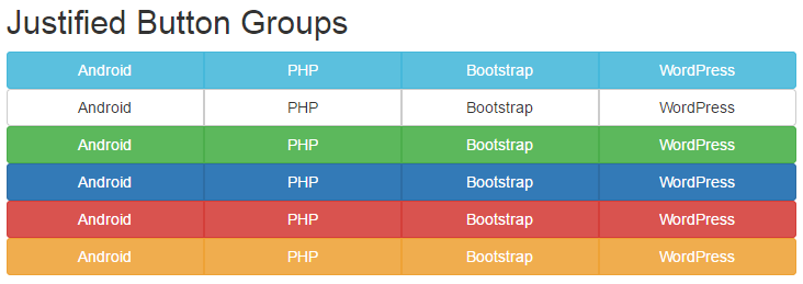Create horizontal justified auto width adjust menu button groups using bootstrap in HTML,PHP