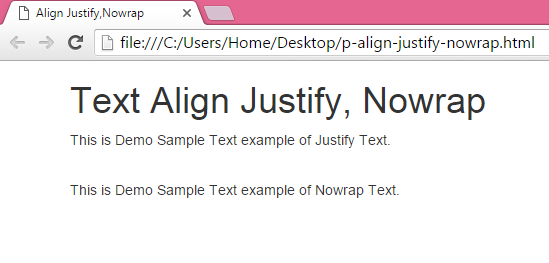 Set paragraph tag text align Justify,Nowrap using bootstrap classes