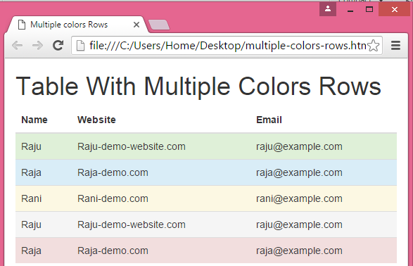Create table with multiple colors rows using bootstrap in for Html program for table