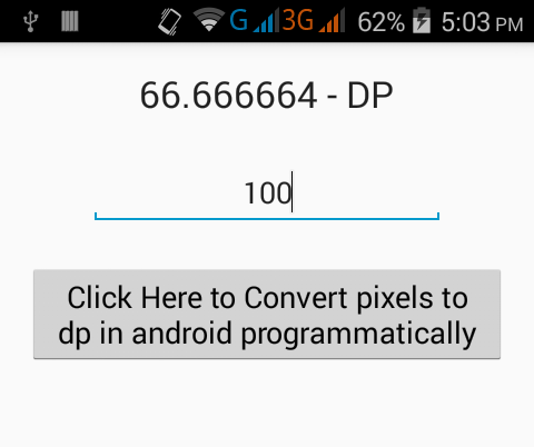 Show/Convert pixels to dp in android programmatically