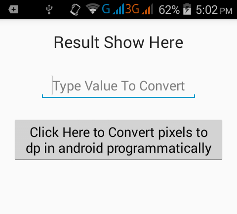 Show/Convert pixels to dp in android programmatically - Android Examples