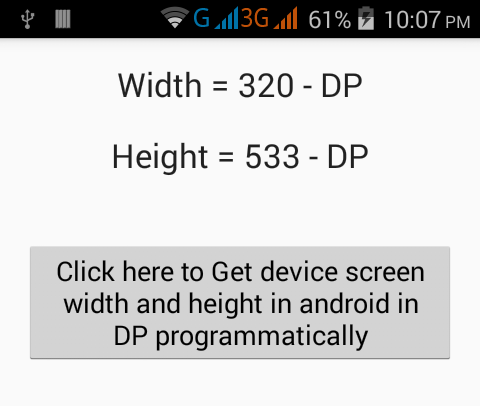 Get device screen width and height in android in DP programmatically