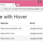 Create table with complete row hover effect using Bootstrap classes in HTML,PHP