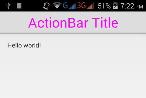 Set/Change Action Bar title text size in android