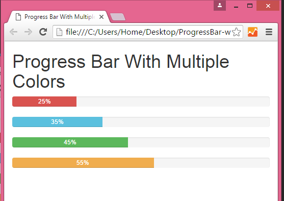 Change color of Bootstrap Progress Bar in HTML,PHP - Android