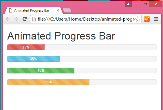 Create Animated Progress Bar using Bootstrap classes and jQuery in HTML,PHP