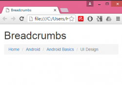 Create Responsive Breadcrumb Navigation using Bootstrap classes in HTML,PHP