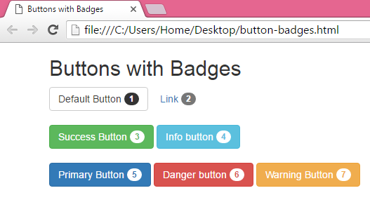 Add/Create custom Buttons with Badges using Bootstrap classes in HTML,PHP