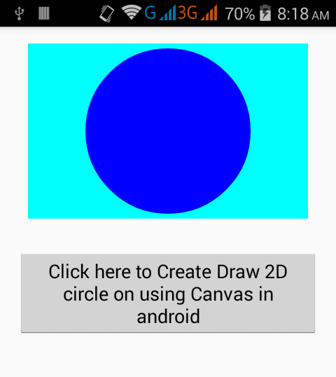 Create Draw 2D round shape circle on using Canvas in android example