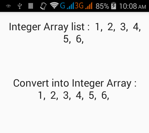 Convert Integer ArrayList to Integer Array in Java Android with example