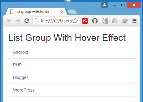 Create horizontal list group with hover effect using Bootstrap classes in HTML,PHP
