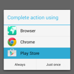 Open specific app inside Google Play Store via android app on button click