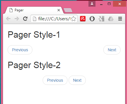 Create Bootstrap Pager with Previous Next buttons in HTML,PHP
