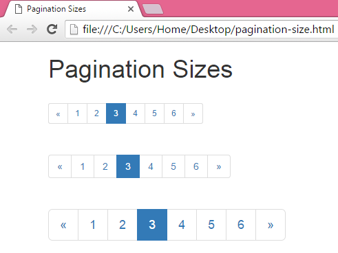 Change Pagination menu size in Bootstrap in HTML,PHP