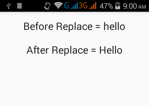 Change/Replace a single character in a String Java Android example