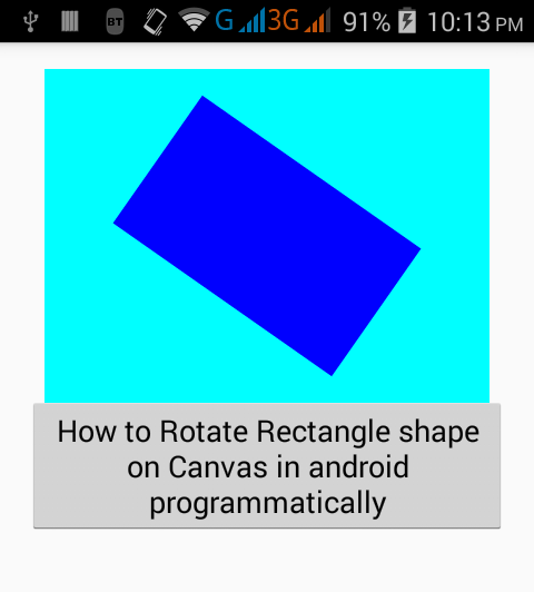 Rotate Rectangle shape on Canvas in android programmatically