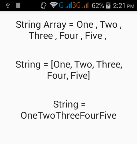 Convert String Array to single String value in Java Android