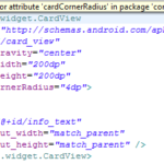 Solve no resource identifier found for attribute 'cardcornerradius' in package error in Eclipse