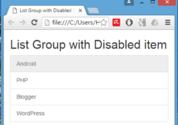 Create List Group with Disabled item using Bootstrap in HTML,PHP