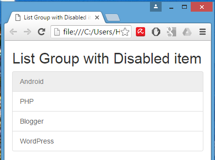 Create List Group with Disabled item