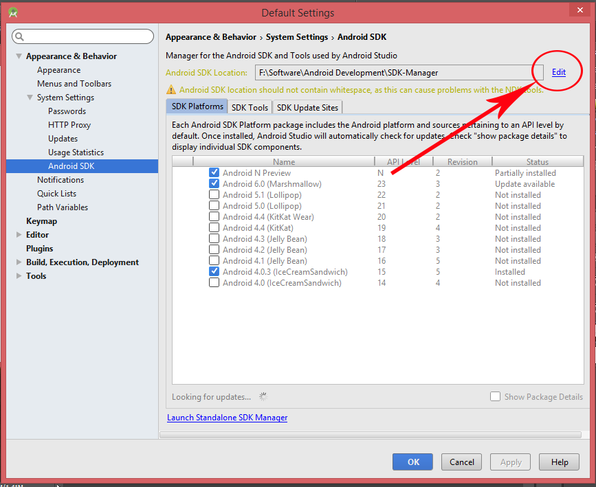 Change Android SDK Manager path in Android Studio IDE
