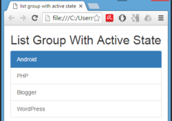Create list group with active state item using Bootstrap classes in HTML,PHP