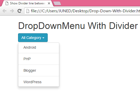 Create simple basic dropdown menu using bootstrap classes in html.