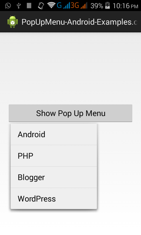 create custom popup menu in android studio eclipse example
