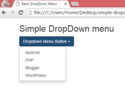 Create simple basic DropDown menu using bootstrap classes in HTML,PHP