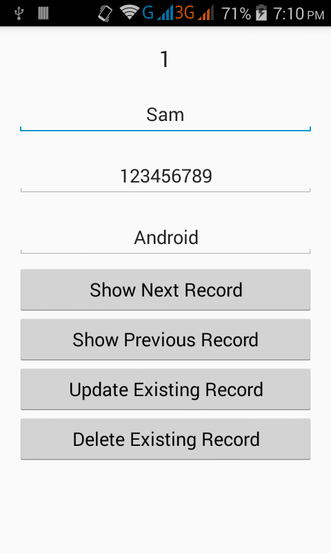 Android SQLite Insert Update Delete Display data example