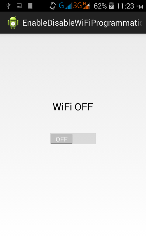Enable Disable WiFi programmatically in android on button