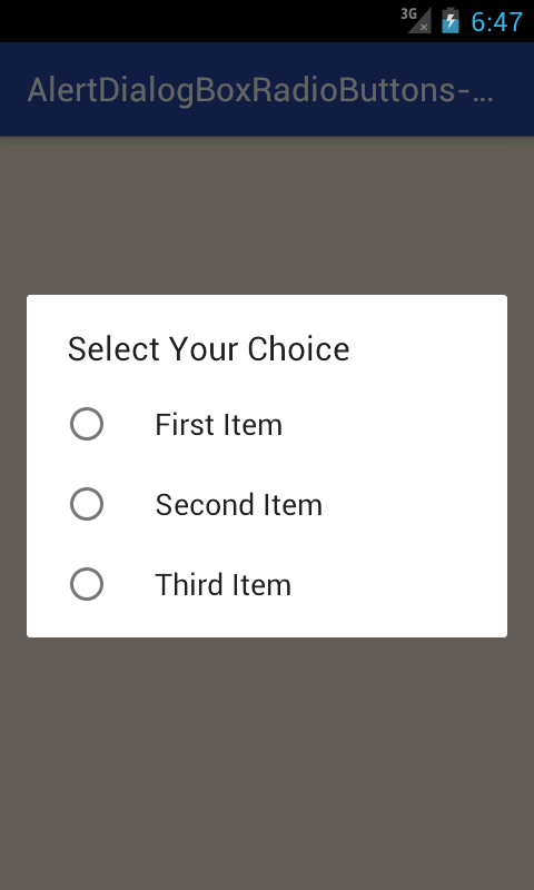 Create Alert Dialog Box with Radio buttons group in android