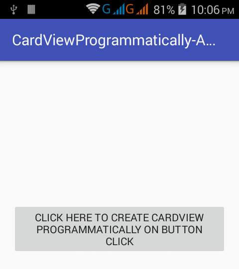 create cardview programmatically in android app on button