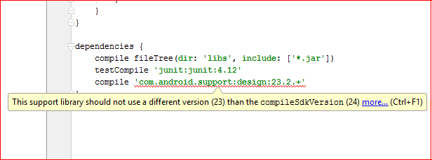Solve this support library should not use a different version than the compilesdkversion Error in Android Studio