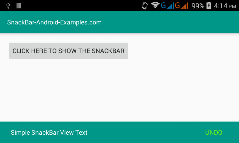 Android SnackbBar with Material design example tutorial using Android Studio