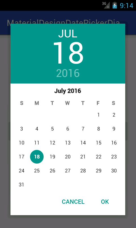 Create Show Material Design DatePicker Dialog for android