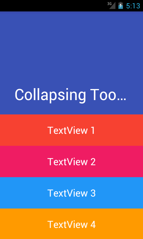 Android Material design Collapsing Expanding Toolbar example