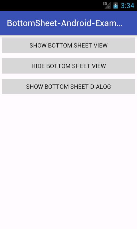 Android Material Design Bottom Sheet View Dialog Example