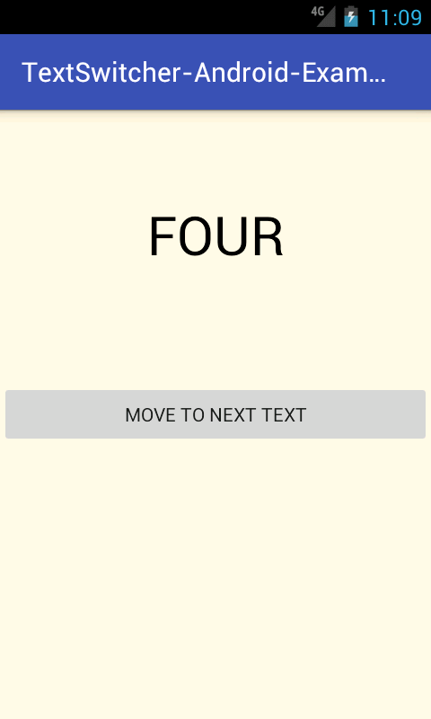 Android TextSwitcher With Animation Example Tutorial