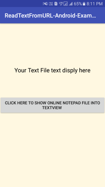 Read Text Notepad File From Online URL Server Display Into