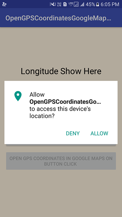 Open Current Location in Google Map Using GPS Coordinates in