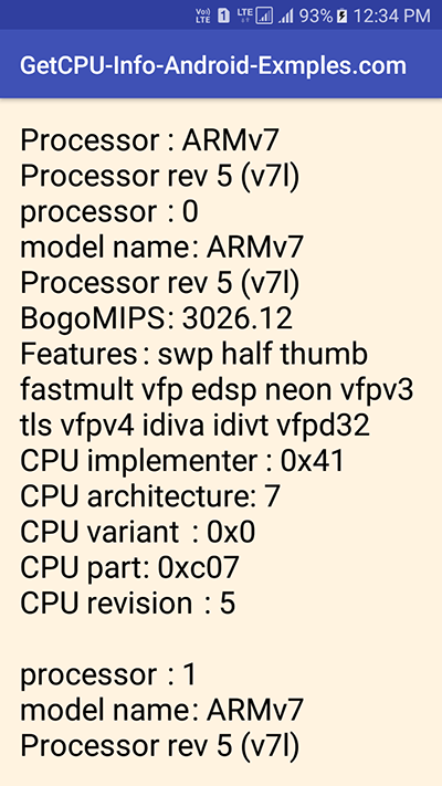 Get Android Device CPU Information Programmatically