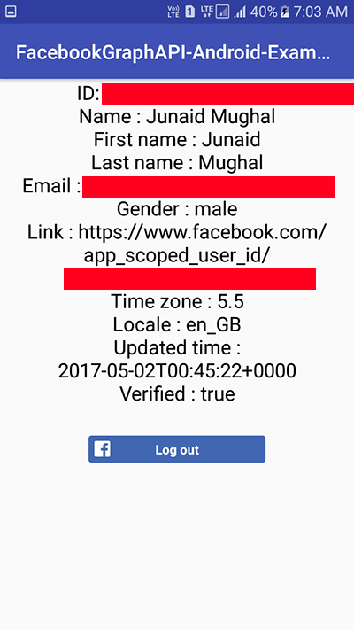 Android Get Facebook Login User Information Using Graph API Android Studio Example Tutorial